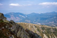 View from Mount Chopok in Sunny Day, ski resort Jasna, Low Tatras National Park in Slovak Republic stock photo