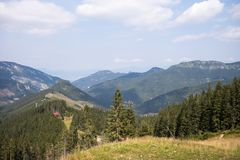 View from Mount Chopok in Sunny Day, ski resort Jasna, Low Tatras National Park in Slovak Republic stock photography