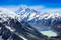 View of Mount Cook and lake Stock Photography