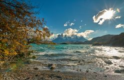 View of Mount Cuernos del Peine in the national park Torres del Paine during the bright sunrise. Chilean Patagonia in. Autumn Stock Images