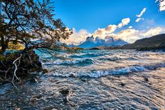 View of Mount Cuernos del Peine in the national park Torres del Paine during the bright sunrise. Chilean Patagonia in. Autumn royalty free stock photos