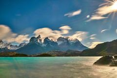 View of Mount Cuernos del Peine in the national park Torres del Paine during the bright sunrise. Chilean Patagonia in. Autumn royalty free stock photography