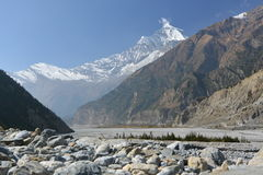View of mount Dhaulagiri from Kali Gandaki Valley Stock Photo