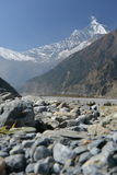 View of mount Dhaulagiri from Kali Gandaki Valley. Nepal Stock Photo