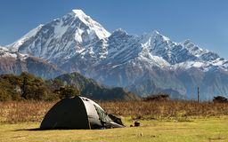 View of mount Dhaulagiri with tent Royalty Free Stock Images