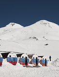 View of mount Elbrus from the mountain shelter Boc Royalty Free Stock Image