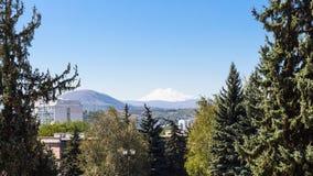 view of Mount Elbrus from Pyatigorsk city stock photography