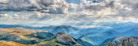 View from Mount Evans Colorado. Mount Evans in Colorado on a clear day with gathering clouds royalty free stock photo