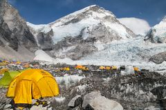 View from Mount Everest base camp. EVEREST BASE CAMP, NEPAL, 27th APRIL 2016 - View from Mount Everest base camp, tents and prayer flags, sagarmatha national royalty free stock photo