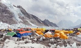 View from Mount Everest base camp. EVEREST BASE CAMP, NEPAL, 27th APRIL 2016 - View from Mount Everest base camp, tents and prayer flags, sagarmatha national stock images