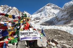 View from Mount Everest base camp. EVEREST BASE CAMP, NEPAL, 14th NOVEMBER 2014 - view from Mount Everest base camp with rows of buddhist prayer flags stock photography