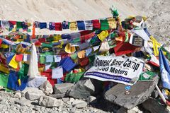 View from Mount Everest base camp. EVEREST BASE CAMP, NEPAL, 14th NOVEMBER 2014 - view from Mount Everest base camp with rows of buddhist prayer flags royalty free stock image