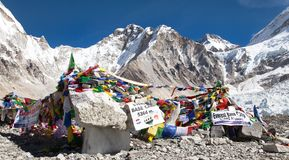 View from Mount Everest base camp. EVEREST BASE CAMP, NEPAL, 14th NOVEMBER 2014 - view from Mount Everest base camp with rows of buddhist prayer flags royalty free stock photos