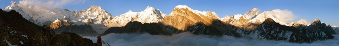 View of Mount Everest, Lhotse, Makalu and Cho Oyu Stock Image