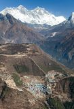 View of Mount Everest, Lhotse and Namche Bazar Stock Photography