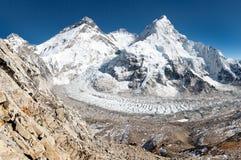 View of Mount Everest, Lhotse and Nuptse Stock Photos