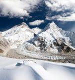 View of Mount Everest, Lhotse and Nuptse Stock Image