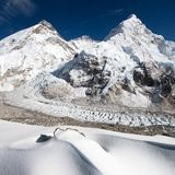 View of Mount Everest, Lhotse and Nuptse Royalty Free Stock Images