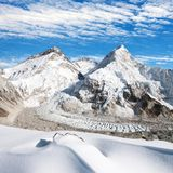 View of Mount Everest, Lhotse and Nuptse Stock Images