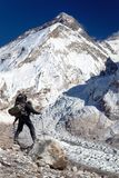 Mount Everest from Pumo Ri base camp with tourist Royalty Free Stock Images