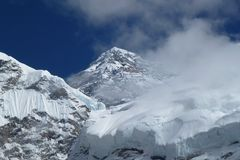 Mount Everest summit (8848 meters), seen from the Everest Base Camp trek, Nepal. View of Mount Everest summit (8848 meters), seen from the Everest Base Camp trek stock image