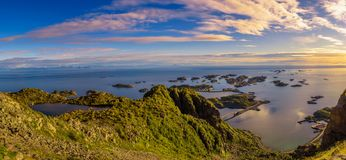 View from mount Festvagtinden above the village of Henningsvaer in Norway Stock Photography