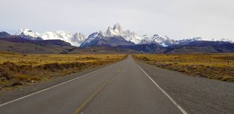 View of Mount Fitz Roy and Cerro Torre along the road to El Chalten, Patagonia, Argentina stock image