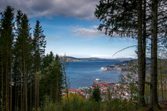 View from Mount Floyen. Panorama in Bergen, Norway Stock Photos
