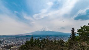 View of Mount Fuji at Fujiyoshida, Japan in the sunny day. With moving cloud stock video footage