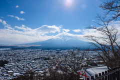 The view of Mount Fuji from Kawaguchiko, Japan. Fantastic view of Mount Fuji from Kawaguchiko, Japan on a very sunny and bright day Royalty Free Stock Photography