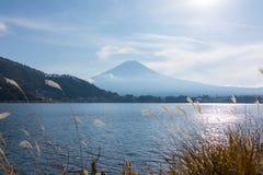 Mount Fuji from Lake Kawaguchiko stock image