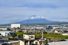 View of Mount Fuji from Shin-Fuji Station. Mount Fuji and town of Shin Fuji from Shin-Fuji Station Shinkansen platform stock photos