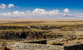 View of Mount Guru Mandala and Lake Manasarovar Stock Photo