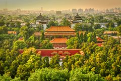 The view from Mount Jingshan to the Gate of Prowess, the Northern Gate Forbidden City stock photography