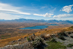 View from Mount John over Mackenzie Country Royalty Free Stock Photos