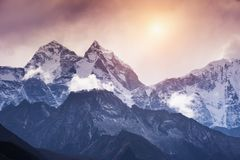 View of Mount Kangtega in Himalaya mountains at sunset. Khumbu valley, Everest region, Nepal royalty free stock photography
