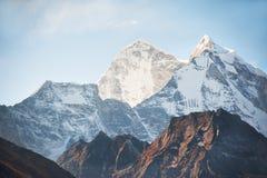 View of Mount Kangtega at sunrise in Himalaya mountains, Nepal. Everest Base Camp trek, Sagarmatha national park royalty free stock photography