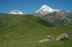 View of Mount Kazbek in Greater Caucasus, Georgia Stock Photo
