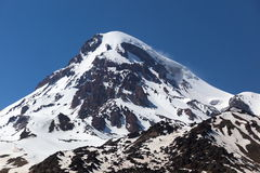 View of Mount Kazbek, near Stepantsminda. Georgia. Royalty Free Stock Image
