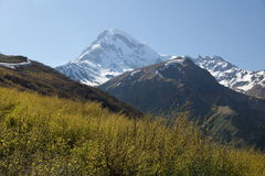 View of Mount Kazbek, near Stepantsminda. Georgia. Royalty Free Stock Photo