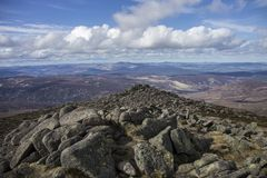 A view from Mount Keen. Cairngorm Mountains, Aberdeenshire, Scotland. View from Mount Keen. Cairngorm Mountains, Aberdeenshire, Scotland, UK. Scottish Highlands royalty free stock photos