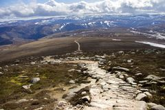 View from Mount Keen summit. Cairngorm Mountains, Aberdeenshire, Scotland. A view from the top of Mount Keen. Aberdeenshire, Cairngorms National Park, Scotland royalty free stock images