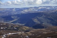 View from Mount Keen summit. Cairngorm Mountains, Aberdeenshire, Scotland. A view from the top of Mount Keen. Aberdeenshire, Cairngorms National Park, Scotland stock image