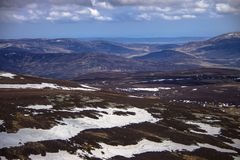 View from Mount Keen summit. Cairngorm Mountains, Aberdeenshire, Scotland. A view from the top of Mount Keen. Aberdeenshire, Cairngorms National Park, Scotland stock images