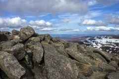 View from Mount Keen summit. Cairngorm Mountains, Aberdeenshire, Scotland. A view from the top of Mount Keen. Aberdeenshire, Cairngorms National Park, Scotland stock photo