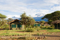 View at Mount Kilimanjaro from Campsite Royalty Free Stock Images