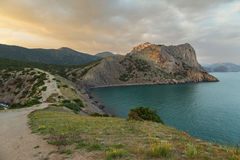 View on Mount Koba-Kaya from Cape Kapchik in Black Sea. Crimea. Royalty Free Stock Photo
