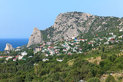 View of Mount Koshka and Simeiz settlement in Crimea Royalty Free Stock Photo