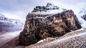 View of Mount Lefroy and Abbot Pass from the Trail to the Plain of Six Glaciers. Mount Lefroy and Abbot Pass seen from the trail to the Plain of Six Glaciers in Royalty Free Stock Photos