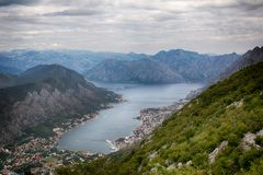 View from Mount Lovcen to the bay. stock photo